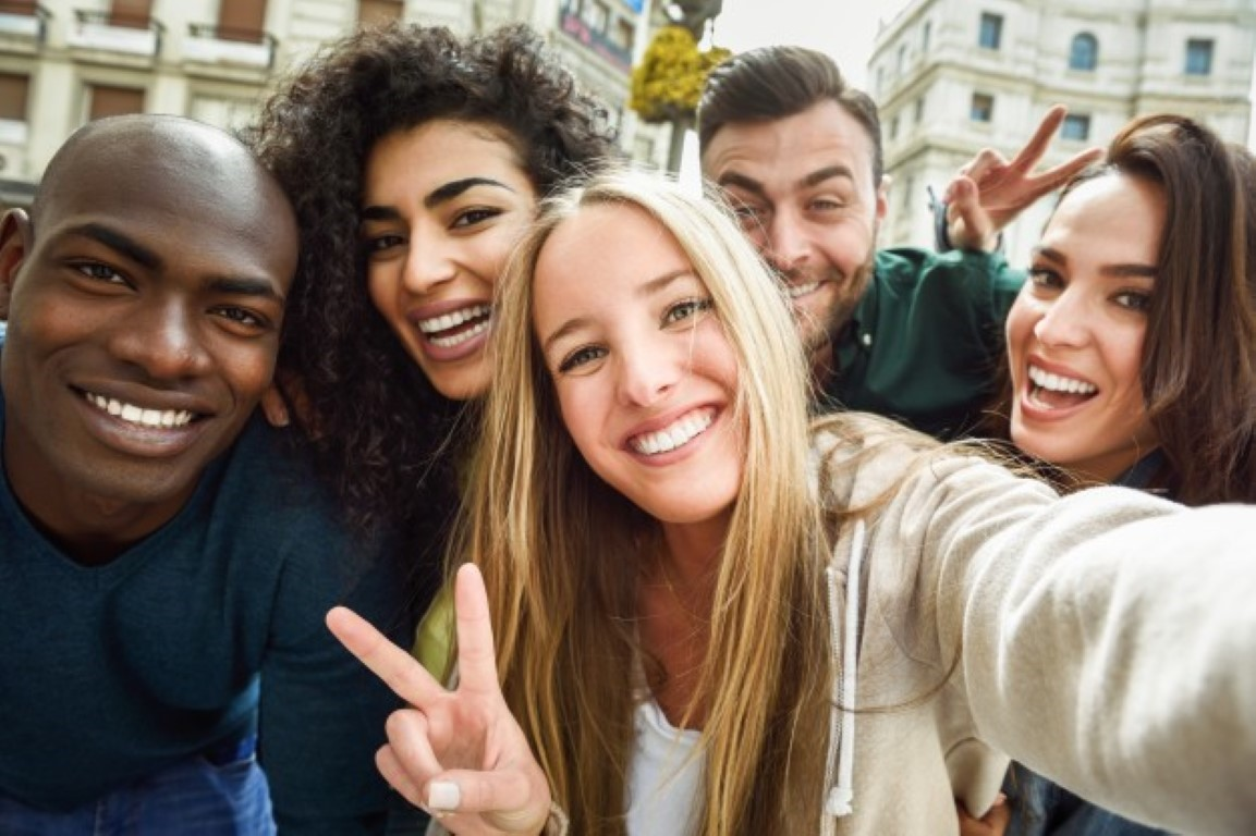 Multicultural young people smiling