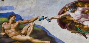 God and man reaching out with cell phones