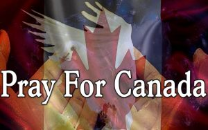 Pray for Canada with Canadian flag, dove and praying hands